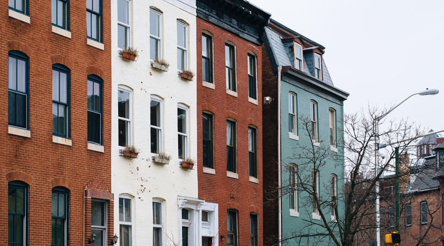 Brick Row Houses in Mount Vernon, Baltimore, MD